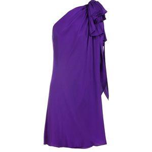 Ralph Lauren Purple Silk One Shoulder Knot Dress